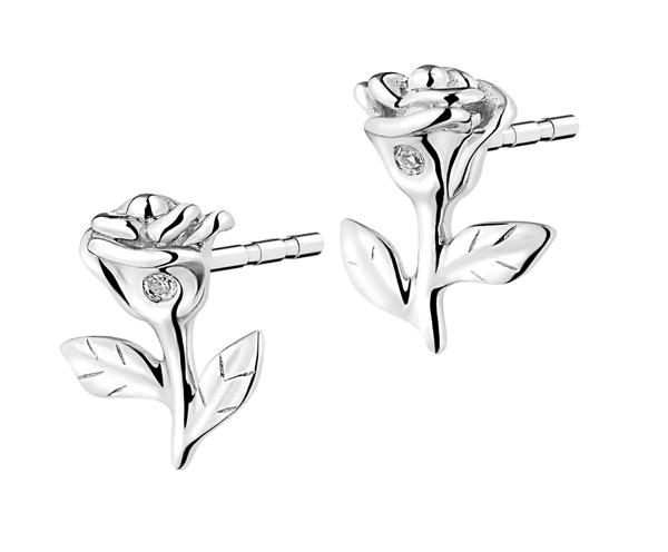 Apart - Kolczyki kwiatki białe złoto