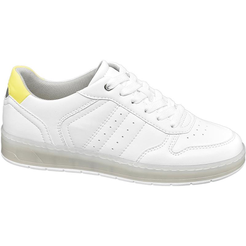 sneakersy białe z żółtymi elementami