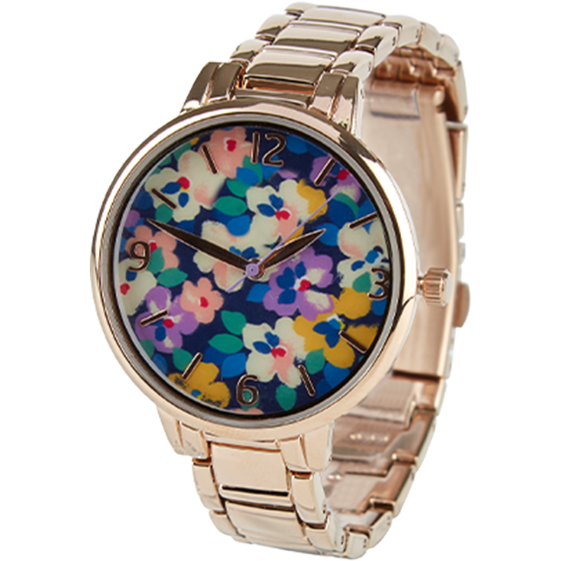 zegarek z tarczą w kwiatowy wzór
